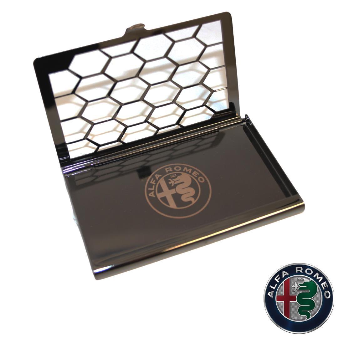 Genuine Alfa Black Stainless Steel Card Holder