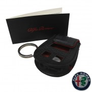 Genuine Alfa Black Leather Key Case