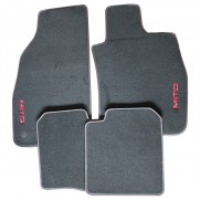MiTo Tailored Footwell Black Carpet Mats Red Trim