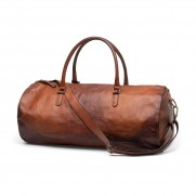 Heritage Logo'd Overnight Leather Bag